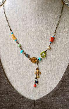Maria.bohemian.colorfullayeredcharm necklace by tiedupmemories, $45.00