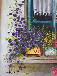Ventana con flores Pintura acrílica original hecha a mano | Etsy Simple Acrylic Paintings, Seascape Paintings, Acrylic Painting Canvas, Canvas Painting Tutorials, House Gifts, Garden Painting, Painted Doors, Stone Painting, Painted Flowers