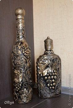 20 GENIUS VINTAGE BOTTLE IDEAS You can't even imagine all those awesome crafts that you can make out of bottles. Glass Bottle Crafts, Wine Bottle Art, Diy Bottle, Bottle Vase, Glass Bottles, Altered Bottles, Antique Bottles, Recycled Wine Bottles, Bottle Painting