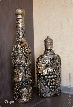 Декор предметов Аппликация из скрученных жгутиков: Бутылочки. Бумага Дебют. Фото 14