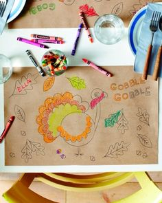 Thanksgiving Place Mat  Cute idea for setting the table: a placemat for kids with a little cup of Crayons! will definitely try this!