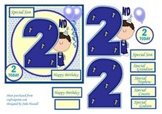 2nd Birthday card with large numeral little boy and balloons on Craftsuprint - View Now!