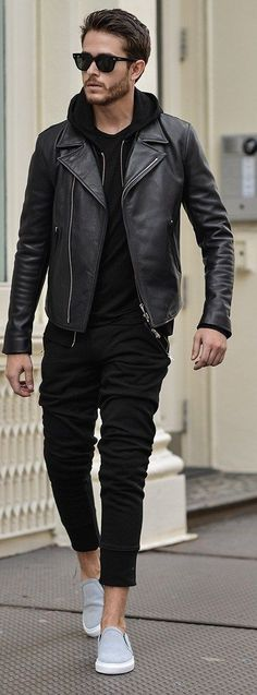 Black Hoodie with Black Joggers and Black Leather Jacket