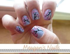 Super cute Cherry Blossom Nails with a TUTORIAL on how to do your own nails!!!!