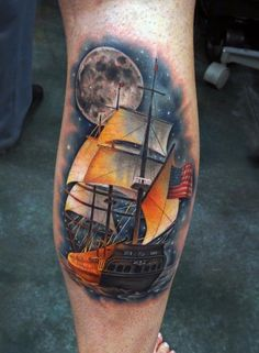 Cool colored boat tattoo - 100 Boat Tattoo Designs