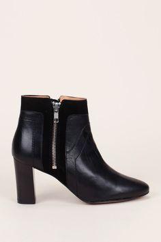 Boots bi-matière noir zip côté Rafiki - Petite Mendigote