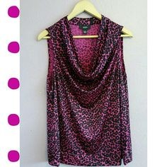 Hot Pink Leopard Top Scoop neck and sleeveless, like new condition Tops