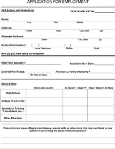 Printable, blank free job application form is document download that allows job candidates and potential employees to apply for a job.