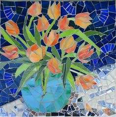"Maplestone Gallery  ~  Contemporary Mosaic Art  ""Tulips""  by Suzanne Steeves"