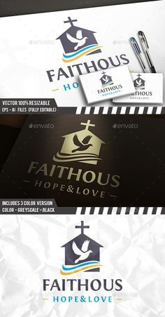 Buy Dove Church House Logo by BossTwinsArt on GraphicRiver. You can change text and colors very easy using the named and organ. Church Graphic Design, Church Design, Real Estate Logo Design, Best Logo Design, Logo Design Template, Logo Templates, Cheap Logo, Building Logo, Church Logo