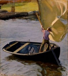 Boy and Sail, Magnus Enckell, 1902 (Finnish painter, 1870 - Stockholm, Meaningful Paintings, Electric Boat, Boat Painting, Art Prints For Sale, Wakeboarding, Fishing Boats, Les Oeuvres, Finland