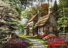 Carnation Cottage Canvas Print / Canvas Art by Dominic Davison