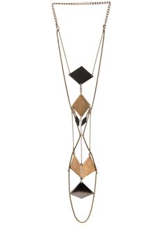 Great combo of geometrics shapes and layered chains. BLISS LAU  Hour Glass Necklace in Multi