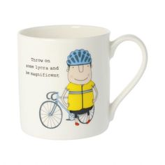 Cyclist Mug – Wild Atlantic Living Female Runner, Leopard Print Leggings, Bike Rider, China Mugs, Reasons To Smile, Bone China, Bones, Birthday Gifts, Presents