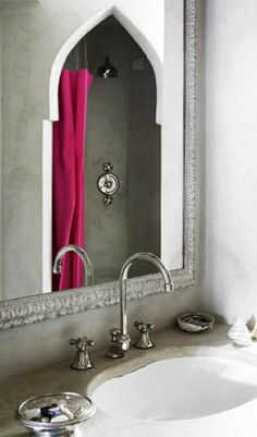 Moroccan bathroom style. Lovely arched shower... #MoroccanDecor. www.mycraftwork.com