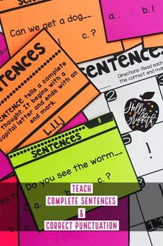 Teach students to write complete sentences, use correct punctuation, expand sentences, and distinguish between different types of sentences with this engaging hands-on resource. This bundle includes 10 days of mini lessons, anchor charts, partner games, interactive notebook pages, task cards, fold over books, practice sheets, and a quick assessment. #HollieGriffithTeaching #TeacherResources #Sentences #FirstGrade