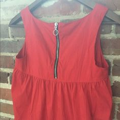 Zara basic red tunic Cute babydoll style tunic. Could be a dress for someone shorter or a shirt with jeans for someone taller. Bright red with zipper in the back. Zara Tops Tunics