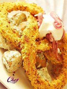 Kukoricás tök karikák, tejfölös újburgonyával recept - Tök receptek Onion Rings, Shrimp, Food And Drink, Meat, Ethnic Recipes, Kitchen, Baking Center, Cooking, Kitchens
