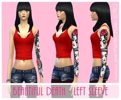 Beautiful death tattoos at GWEN via Sims 4 Updates