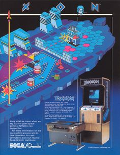 AD for Zaxxon arcade stand-up and tabletop versions.