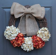 Fall Wreath READY TO SHIP! Orange and White Hydrangea flowers with Burlap bow on a Grapevine wreath on Etsy, $55.00