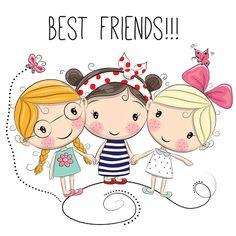 Three Cute cartoon girls - ilustração de arte em vetor