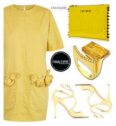 """Anastazio-yellow chic"" by anastazio-kotsopoulos ❤ liked on Polyvore featuring The 2nd Skin Co., Jimmy Choo and Anastazio"
