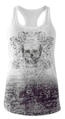 Skull Ombre Blown out Racer back tank by ThreadsoftheDead on Etsy