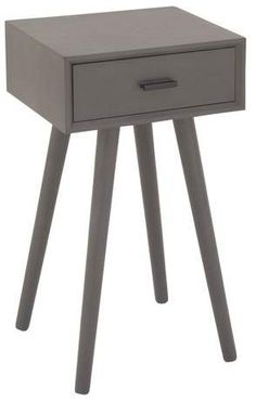 Olivia & May Wood Single Drawer Pole Legs Accent Table Gray