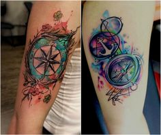 Compass tattoo, compass tattoo design, couple tattoos, all tattoos, r Feminine Compass Tattoo, Nautical Compass Tattoo, Compass Tattoo Design, Feather Tattoos, Rose Tattoos, All Tattoos, Tatoos, Tattoo Rose Des Vents, Paisley Flower Tattoos