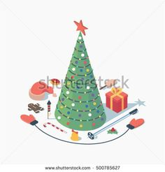 Christmas, vector isometric concept illustration, 3d icon set, white background: christmas tree with star, hat of Santa Claus, cookie, candy, fireworks, bell, skiing, mittens, gift, ice cream