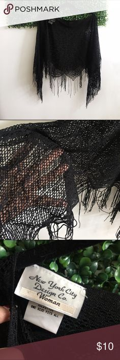 Black Lace Shawl/poncho ✨brand NWOT✨ - Knit Lace like material -perfect for the upcoming holidays🍾🎄 can be worn with a chic black long sleeve New York City Design CO  Tops