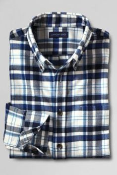 Men's Traditional Fit Long Sleeve Flannel Shirt from Lands' End--For James in large; Pewter Heather Plaid, Burnt Caramel Plaid, or Ivory Plaid