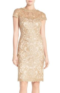 Tadashi Shoji Illusion Yoke Lace Sheath Dress (Regular & Petite) available at #Nordstrom