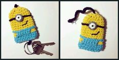Great idea for a Minion key cover - just need to learn to crochet! Crochet Key Cover, Crochet Case, Diy Crochet, Crochet Toys, Crochet Bookmarks, Crochet Keychain, Minion Pattern, Minion Crochet, Key Covers