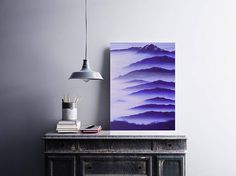 Mountain landscape painting acrylic canvas art blue artwork.