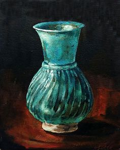 Available to buy online, Blue Vase by South African artist Grace Kotze, still life painting on canvas size 20 x 25 x 4 cm. Still Life Pictures, South African Artists, Online Art Gallery, Canvas Size, Vase, Painting, Painting Art, Paintings, Vases