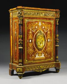 A Victorian rosewood, porcelain mounted, thuyawood and marquetry side cabinet, Holland & Sons, circa 1865 | lot | Sotheby's