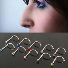 Bluelans 10 Unids Mixd Color Rhinestone Hook Hueso Bar Pin Piercing Joyería de La Nariz Espárragos Anillos