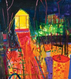 Barbara Rae Ra - The Yellow Shed Allotment Abstract Nature, Abstract Landscape Painting, Landscape Paintings, Abstract Art, Abstract Paintings, Art Paintings, Landscapes, Barbara Rae, Glasgow School Of Art