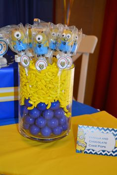 Minions Birthday Party candy!  See more party ideas at CatchMyParty.com!