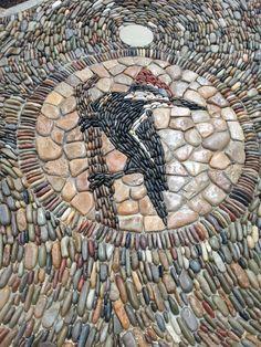 Woodpecker on pathway, Children's Garden at Bok Tower Gardens, Lake Wales, FL Mosaic Rocks, Mosaic Stepping Stones, Mosaic Tile Art, Pebble Mosaic, Mosaic Crafts, Mosaic Projects, Stone Mosaic, Pebble Art, Mosaic Glass