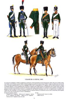 French; Chasseurs a Cheval c.1809. Top L to R  16th Regt, Chasseur & Officer, 19th Regt Surtout, Officer & Chasseur in Tenue de Route. Bottom 20th Regt, Chasseur in Tenue de Combat & Officer