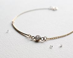 Sterling Silver Bracelet Dainty Skinny Bar Charm by LITTIONARY