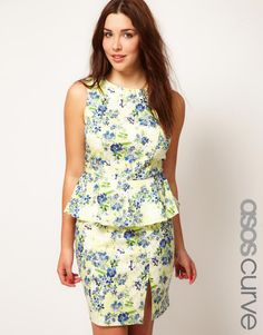 ASOS CURVE Exclusive Peplum Dress In Floral