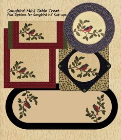 Songbird Mini Table Treats + Options featuring KT Kut-ups precut fusible appliques by Kansas Troubles Quilters