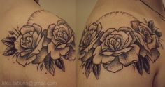 Roses by Alex Tabuns I want this with three more roses kind of heading towards the back of my neck and have the roses symbolize my parents, me, my brother, and my sister and my nephew (: the leaves represent our memories & when my sister or brother have more kids, I'll add more below their rose like my nephews (: