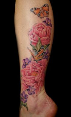 Inachis and Peonies Tattoo by Mallory Swinchock -  	Peony flowers, Inachis butterflies, and violets