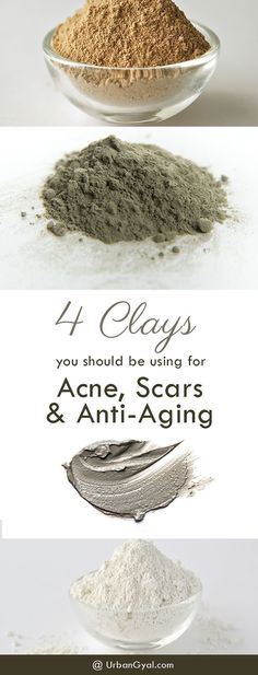 4 Clays you Should be Using for Acne, Scars and Anti-Aging. These 4 simple mask ingredients will perfect your weekly facial routine. Clay masks are so the perfect DIY mask to easily do at home, most of the clay masks only require water or upgrade with o Anti Aging Tips, Anti Aging Skin Care, Natural Skin Care, Natural Beauty, Perfectly Posh, Acne Skin, Acne Scars, Oily Skin, Skin Care Routine For 20s