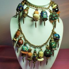 Vintage Asian Charm Bracelet Necklace Demi Parure.  Attributed to Miriam Haskell....